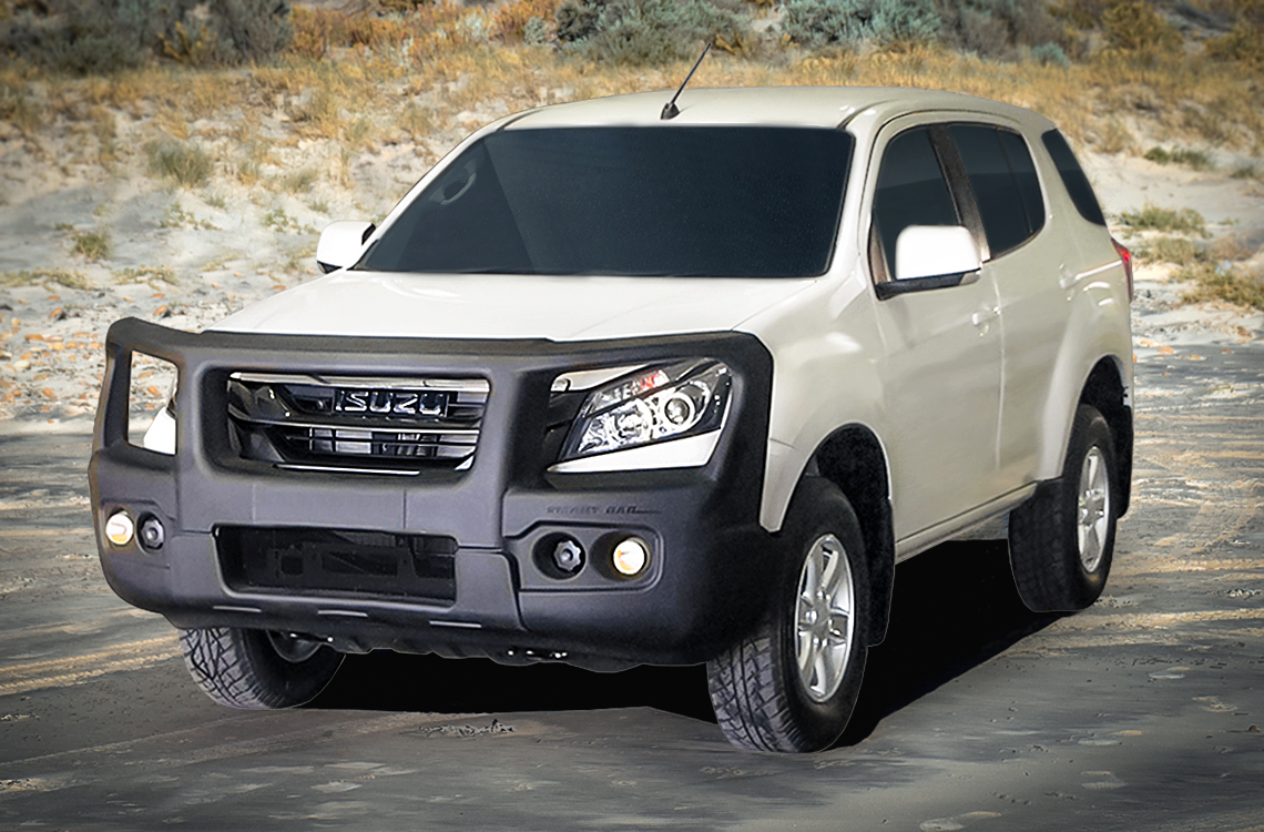 Isuzu MUX 2013-17 with a SpartanBar bull bar with a hill in the background
